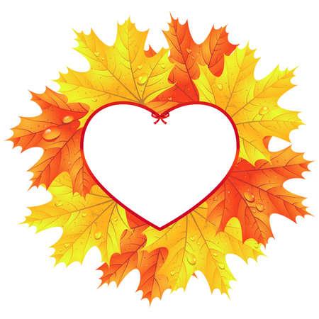葉のハートの形のフレームで。秋の背景