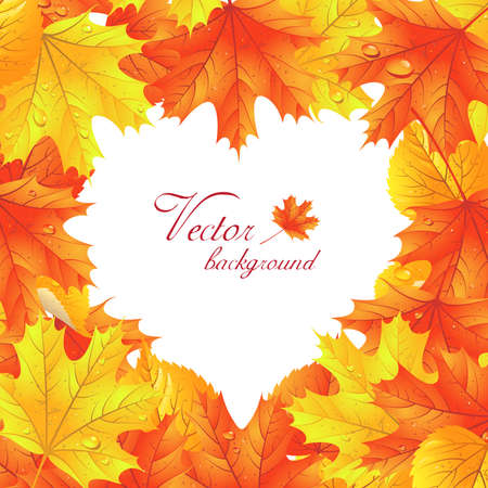 Autumn leaf background. Maple leaves  in the shape of heart Vector
