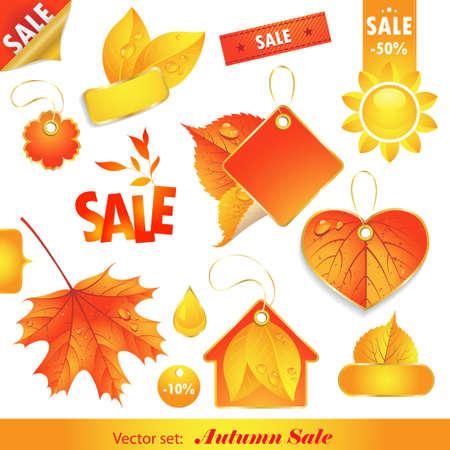 秋の販売。販売のためのラベルのセット