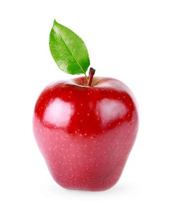 蘋果: 紅蘋果水果與葉孤立在白色背景