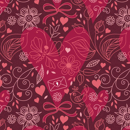 Seamless texture with hearts and flowers. Can be used for  fabric, wallpaper, surface textures,  wrapping paper. Vector