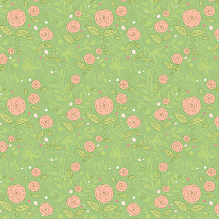 Delicate rose on a green background. Seamless floral pattern Vector