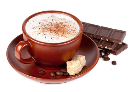 Cappuccino with chocolate and spices