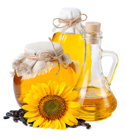 Sunflower oil in bottles. On a white background photo