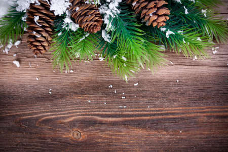 Christmas Fir Tree Border  on a wooden surface