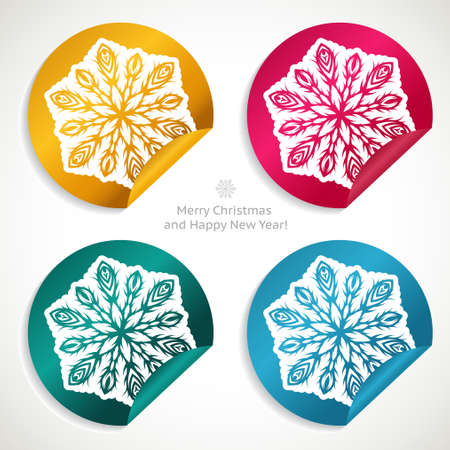 Set of Christmas stickers with snowflakes Stock Vector - 16645046
