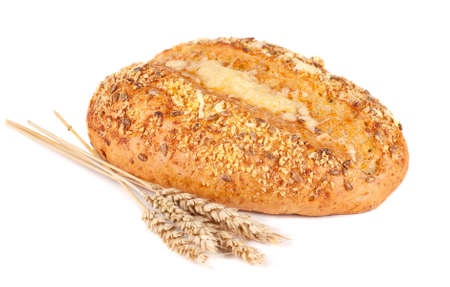 Fresh bread and bran. White background photo
