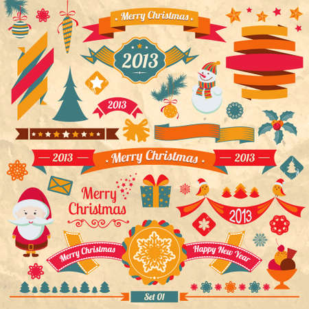 Christmas retro elements. Ribbons, snowflakes, text, Santa Claus Stock Vector - 16822032