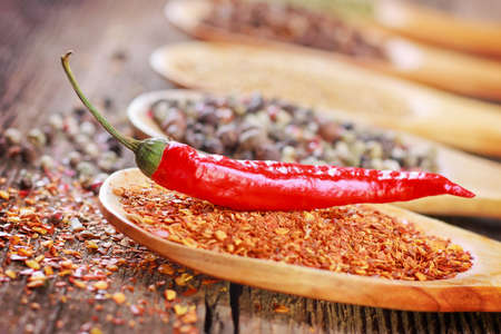Hot pepper and spices in a spoon close-up photo