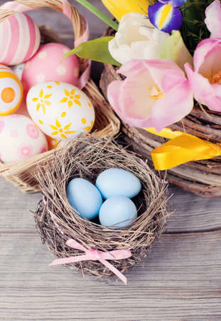 Easter eggs with flowers on wooden Stock Photo - 17753321