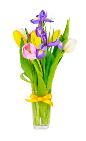 spring flowers in a vase on a white background