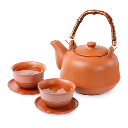 Asian tea set on a white background photo