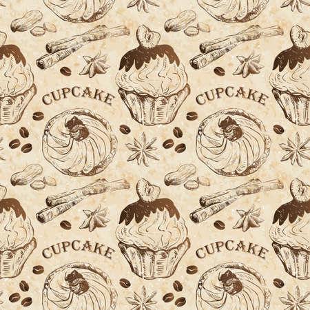 カップケーキ、スパイスとのシームレスなパターン