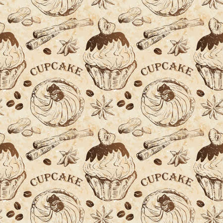 Seamless pattern with cupcakes and spices Vector