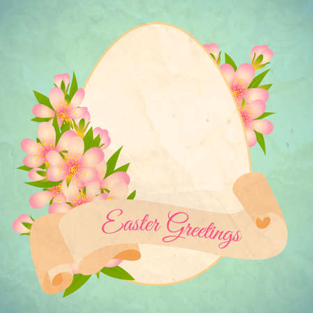 Happy Easter card template,  with ribbon and flowers. Vector