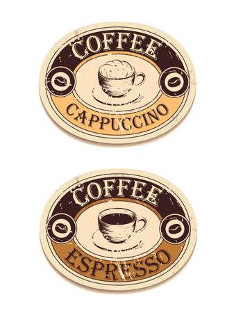 빈티지 레이블 커피 일러스트