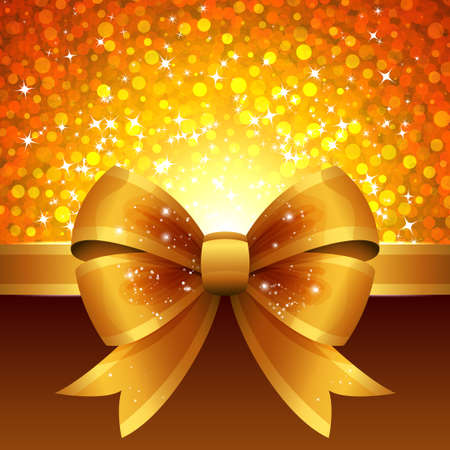 Bright vector background with golden ribbon and bow