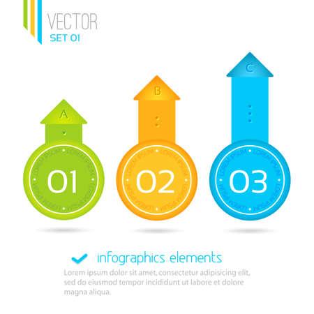 Uno, dos, tres - iconos vectoriales de progreso para tres pasos. Elementos de Infograf�a Vectores