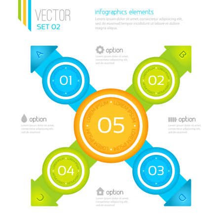 Vector infographic elements, five steps Stock Vector - 21409350