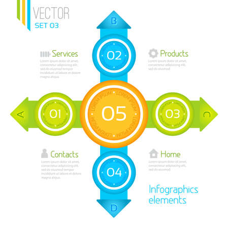 Infographics elements. Vector progress icons for five steps Stock Vector - 21409351