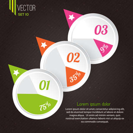 Vector progress icons for  three steps. Infographics elements Stock Vector - 21409361