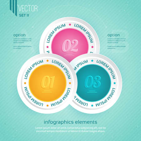 Infographics template. Colored icons for  three steps Stock Vector - 21409362