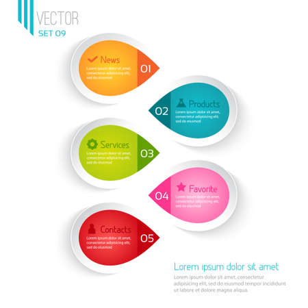 Five colored elements for infographic, white background