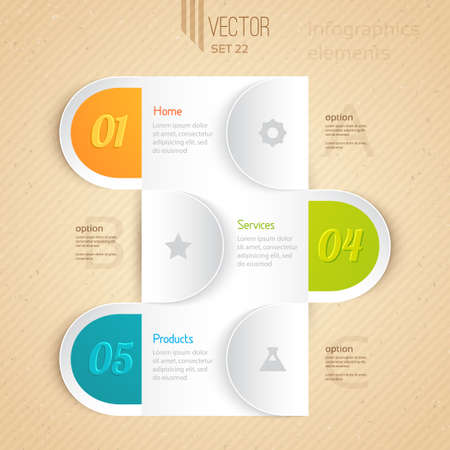 Business infographic tab  Can be used for presentations, web design, infographics, number options  Vector