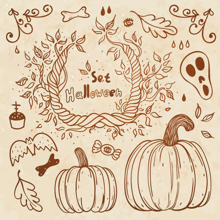 Hallowen hand-drawn set  Autumn template  Use for wallpaper, pattern fills, web page background Vector
