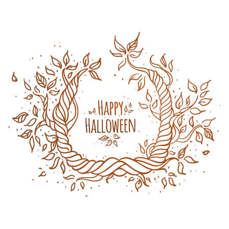 Hallowen trees hand-drawn with space for text  White background  Vector