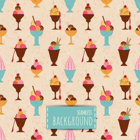 Seamless background with different ice cream Vector