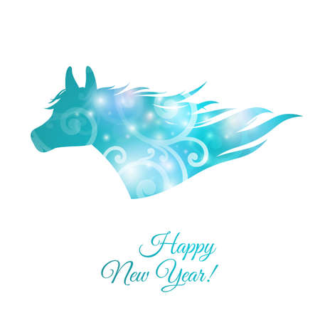 Christmas Greeting Card  Blue horse, vector illustration Vector
