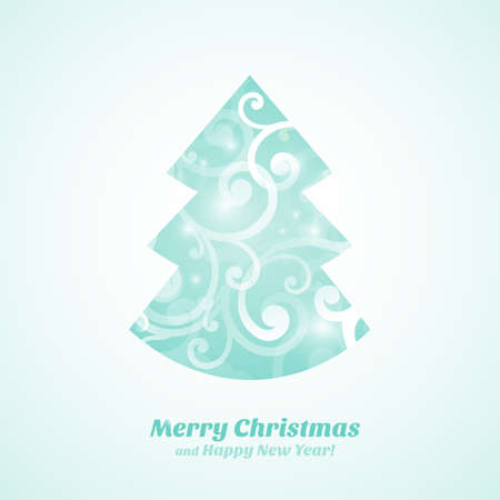 Christmas tree with ornaments  Christmas and New Year  Vector greeting card Vector