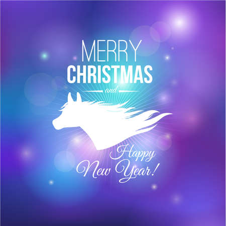 Merry Christmas and Happy New Year 2014 card  Silhouette horse  Vector image  Vector