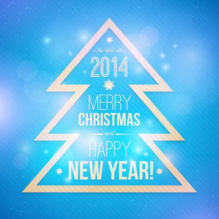 boom kappen: Boom uitsnijden van papier met de inscriptie Kerstmis en Nieuwjaar Vector wenskaart