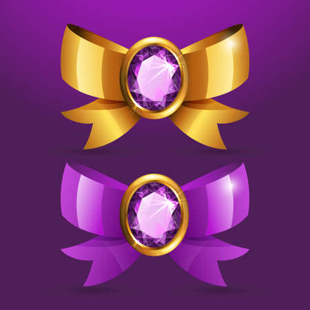 Two beautiful bow with a jewel set in gold Vector