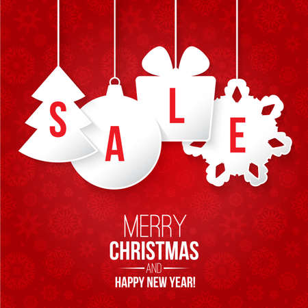 Christmas sale on red background vector illustration Иллюстрация
