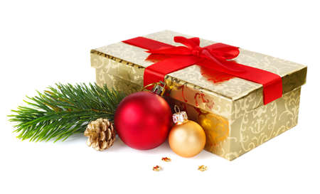 Christmas gift box and decorations isolated on white background  photo