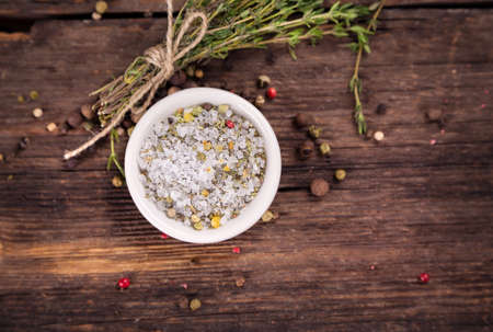 crystal bowl: Sea salt with herbs and spices
