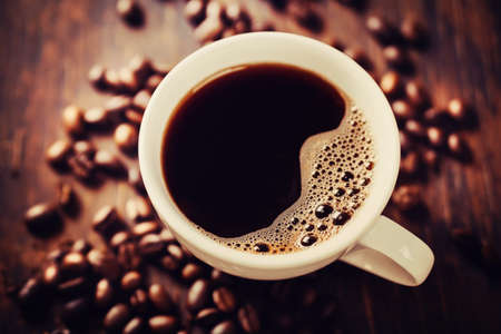 Closeup of coffee with crema. View from above. Stock Photo