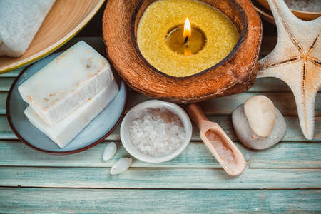 Spa setting with coconut oil, photo