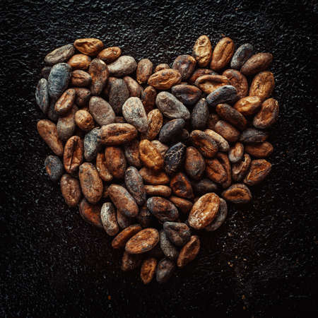Cocoa beans in the shape of hearts