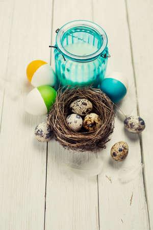 easter nest: Happy Easter. Easter Still life on white wooden table Stock Photo