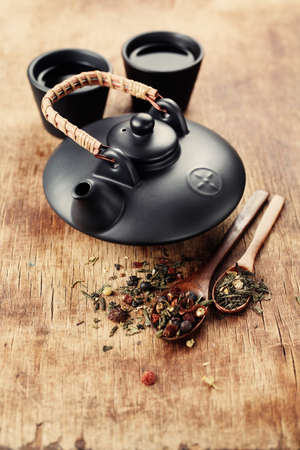 sencha tea: Still Life with Asian teapot and two cups Stock Photo