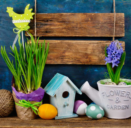 festal: Blank Wooden Signboard and Easter Decorations, Easter