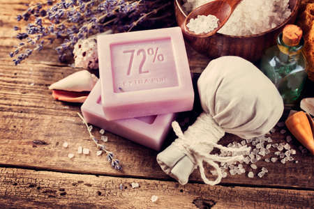 cpa: CPA concept, lavender soap on an old wooden table Stock Photo
