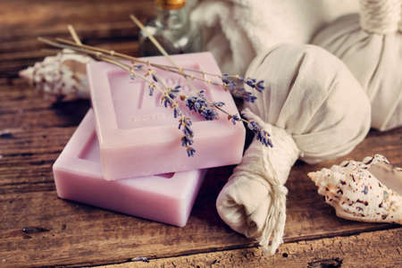 natural soap: Natural soap with lavender and Herbal massage balls