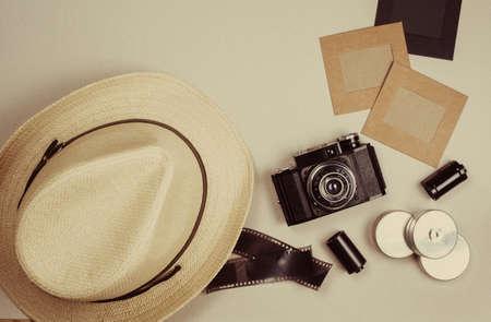 C�maras y marcos de fotos vintage. Se puede utilizar como fondo Foto de archivo