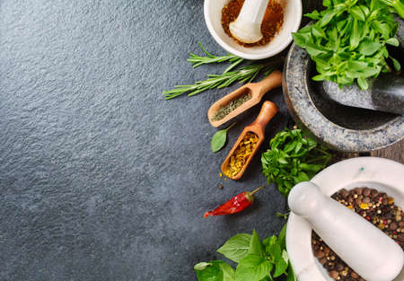 on herb: Fresh herbs and spices. Food background with copyspace Stock Photo