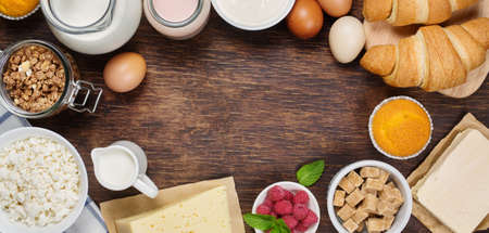 healthy snack: Healthy breakfast with natural dairy products. Rustic background with free text space.